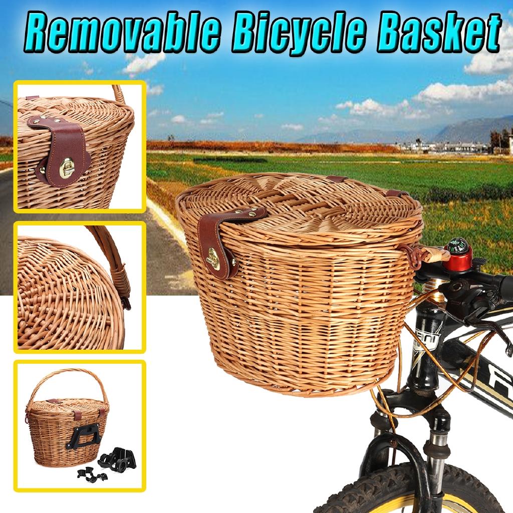 Retro Wicker Bicycle Bike Front Basket Handlebar Cargo Pet Box Shopping Camping