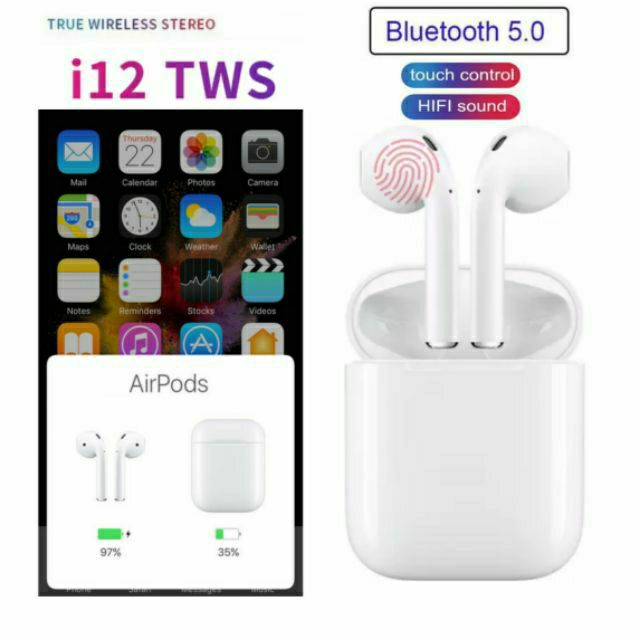 AirPods i12 TWS Bluetooth 5 0 Earbuds Wireless headphones 3D Touch control