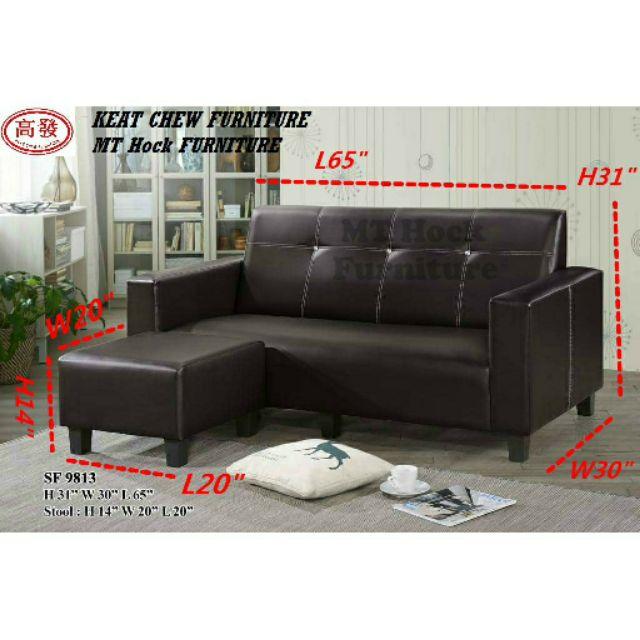 Living Room L\' SOFA / L Shape SoFa / 3 Seater + 1 Stool / PVC Leather SoFa  √ Installation included √ Pasang Sekali √ 沙发