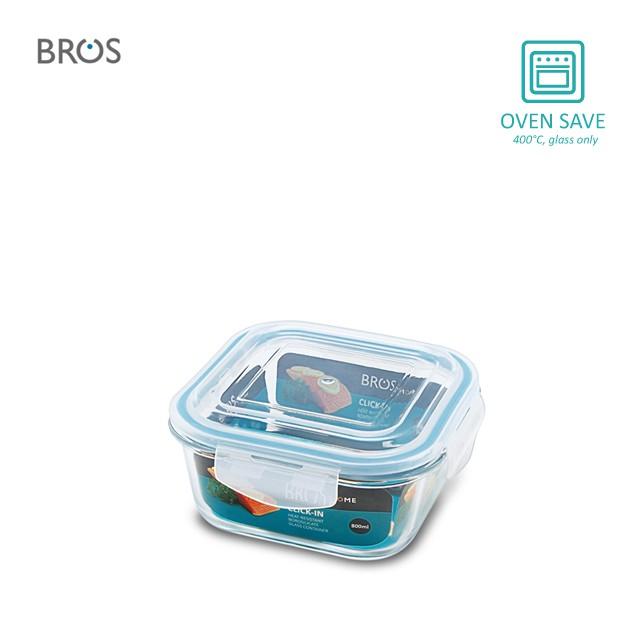 BROS Glass Container Click-In Square (800ml)