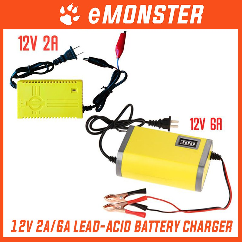Fast Charge 12v 6a Portable Car Motorcycle Lead Acid Motor Charger