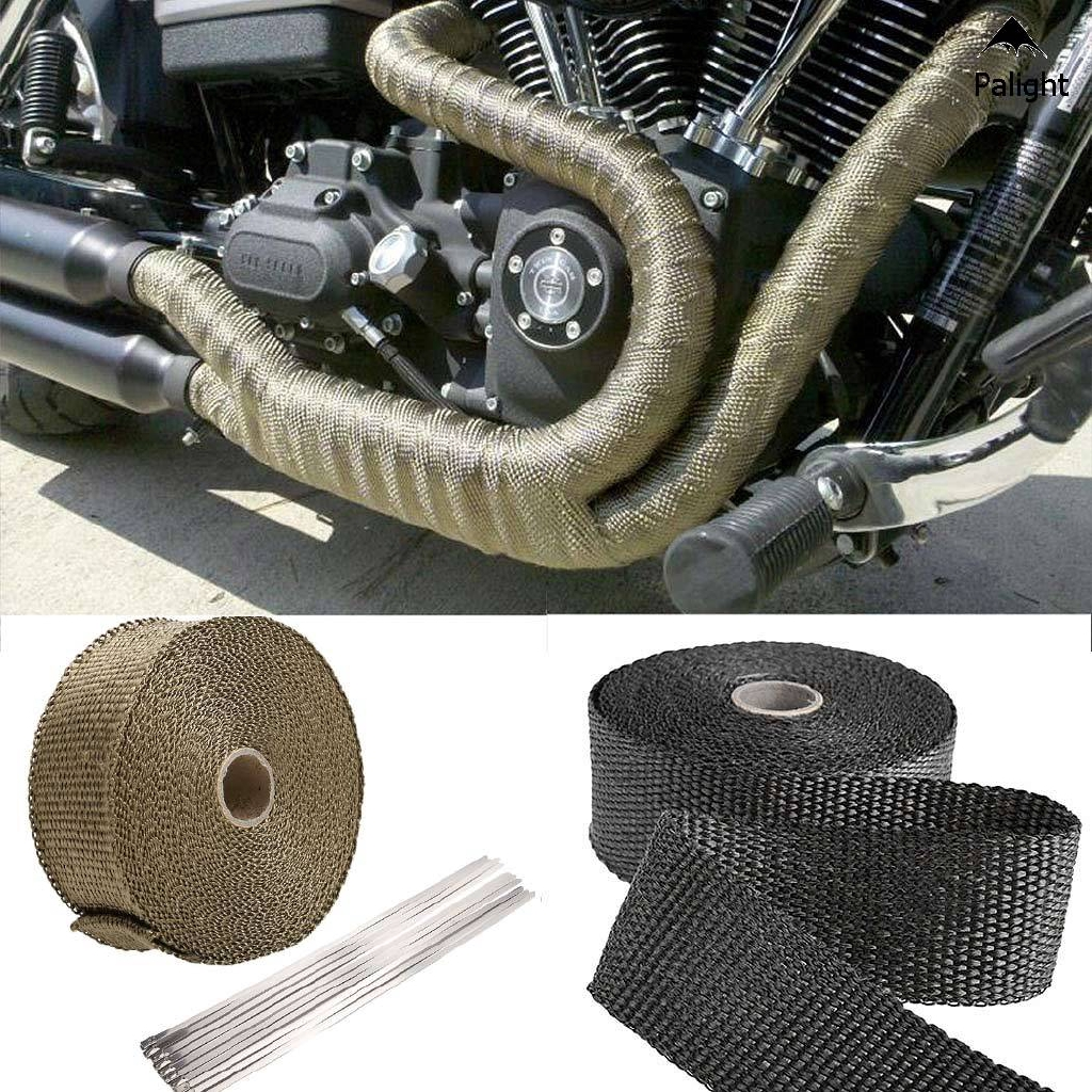 Titanium Color Exhaust Heat Pipe Wrap Motorcycle Exhaust Downpipe Heat Wrap Exhaust Tape 10m X 50mm 10 Stainless Ties Heat Deflectors