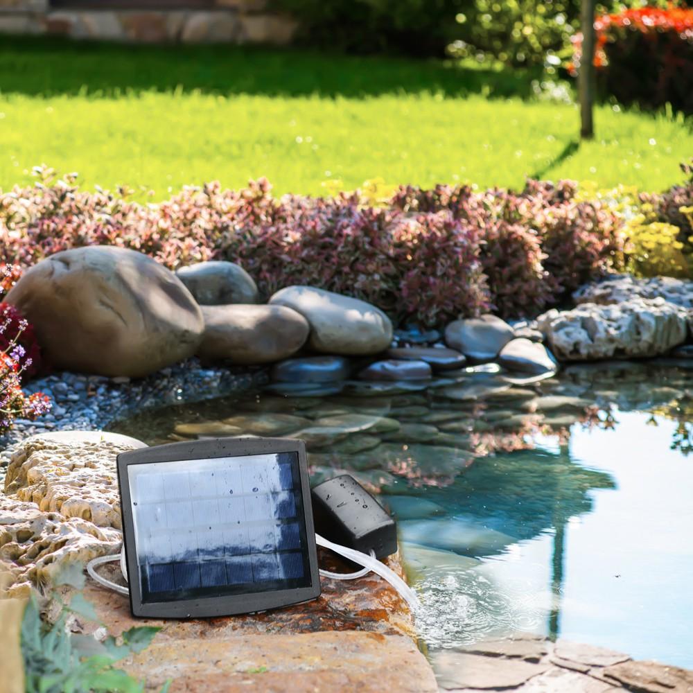 2 Air Stone Aerator Pond Water Oxygenator Solar Powered Oxygen Pump Outdoor