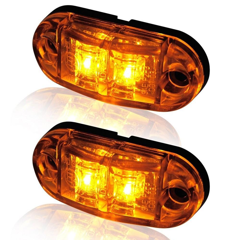 1 x LONG LED Orange Side Marker Light 12V 24V E-marked Car Truck Lorry Trailer Camper Caravan Van Position Lamp Roof Amber Cab Top Universal