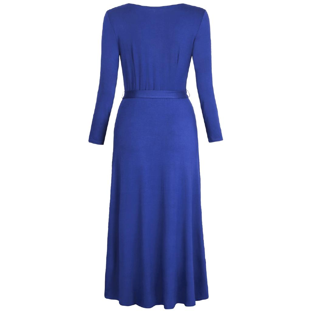 Women SUMMER CASUAL Elegant 1/2 Sleeve V Neck Floral Print LONG Dress with Belt