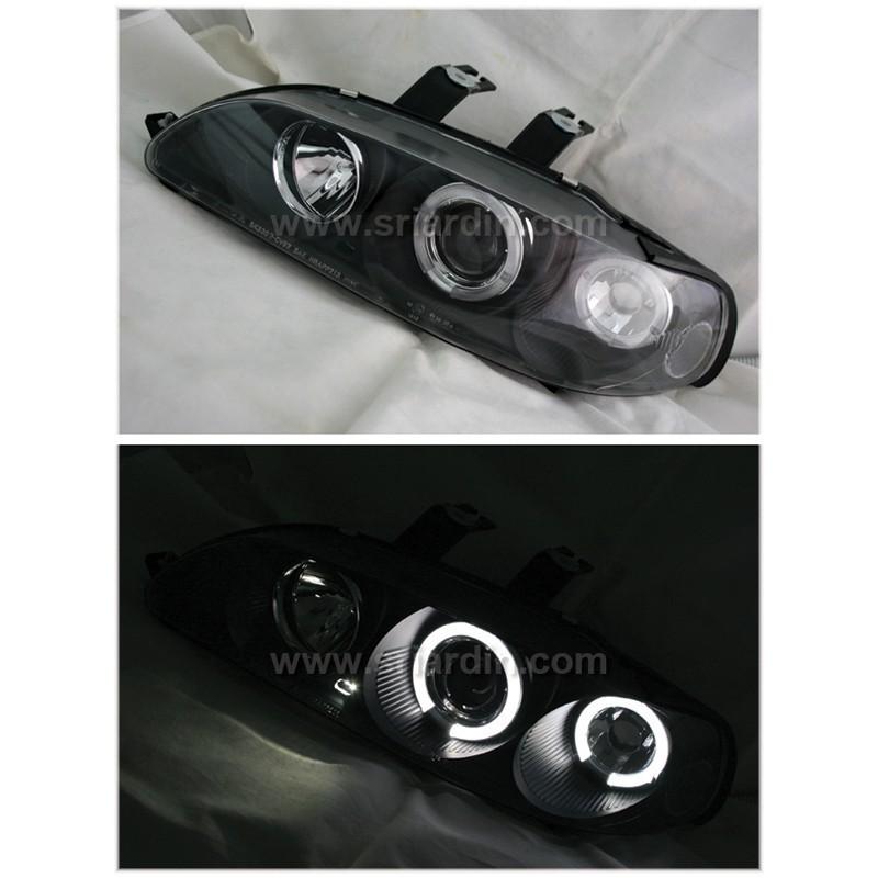 Honda Civic EG 92-95 Black Projector Head Lamp w Ring