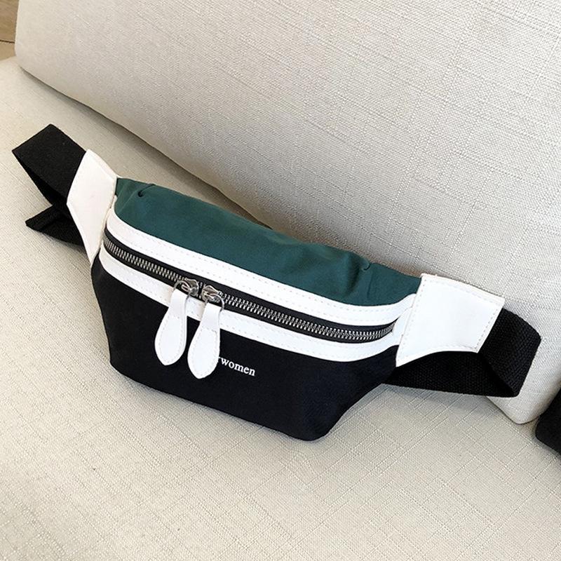 760436e6c5b 2019 NewCanvas Leisure Panelled Fanny Pack For Girls LetterWaist Bag Women