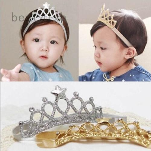 6x Crown Headbands Baby Girl Kids Hairband Hair Hoop Boho Elastic Headwear