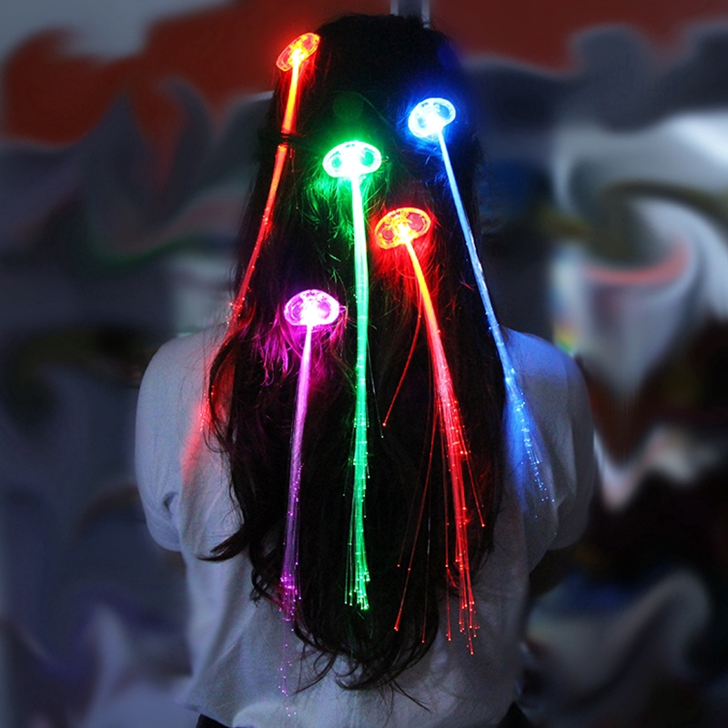 LED Fiber Optic Hairpin Hair Flashing Rave Party Light-Up Braid Led Lights lot