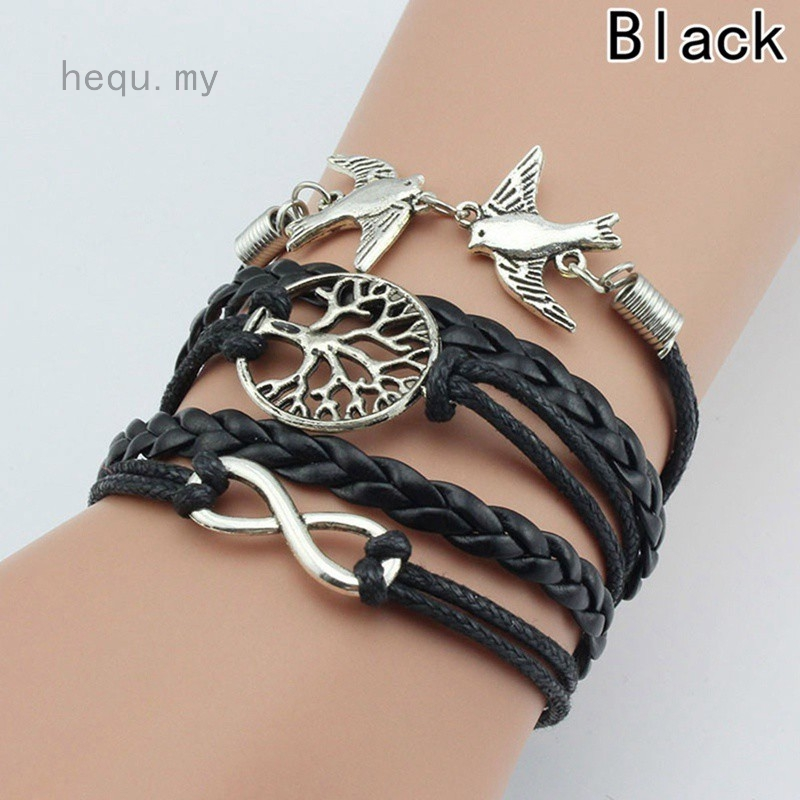 Handmade Bracelets Silver Bird Tree