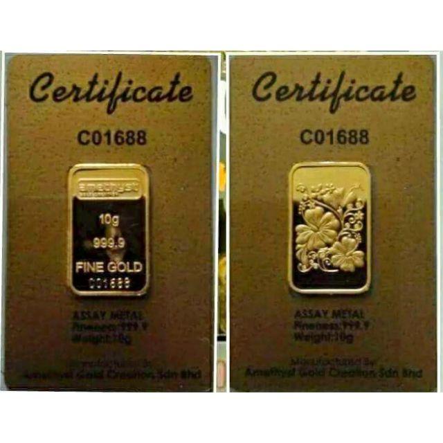 Amethyst Gold Bar 10g 9999