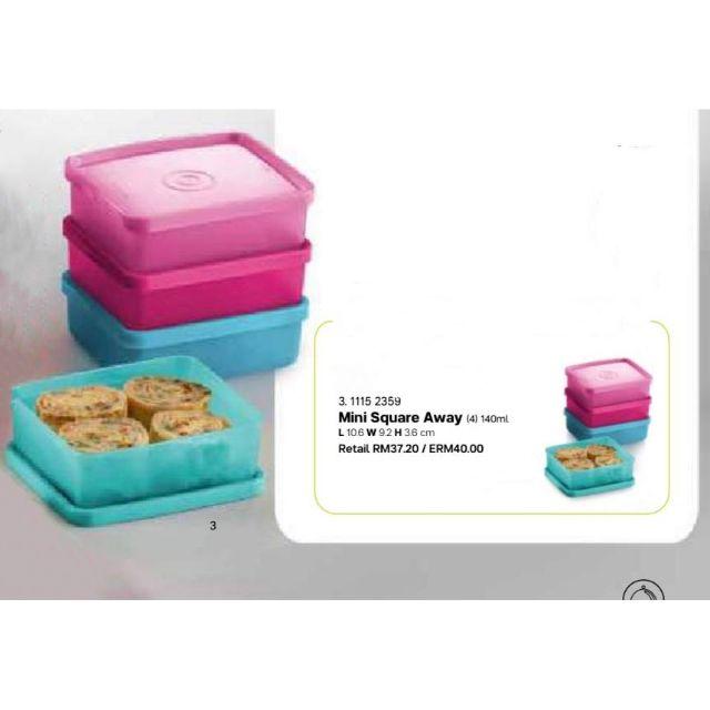 {ReadyStock} Tupperware Mini Square Away 140ml 2pcs/4pcs