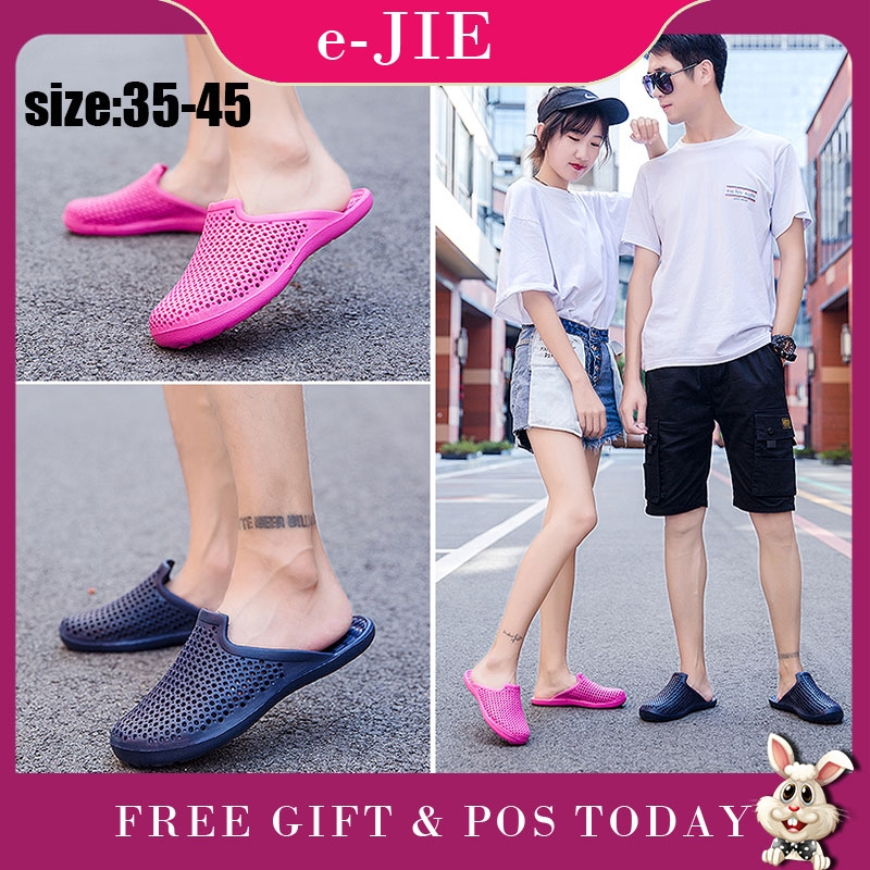 Couple Men Women Casual Non-Slip Sandals Hollow Light Weight Stretch Fabric Cross Slippers Shoes