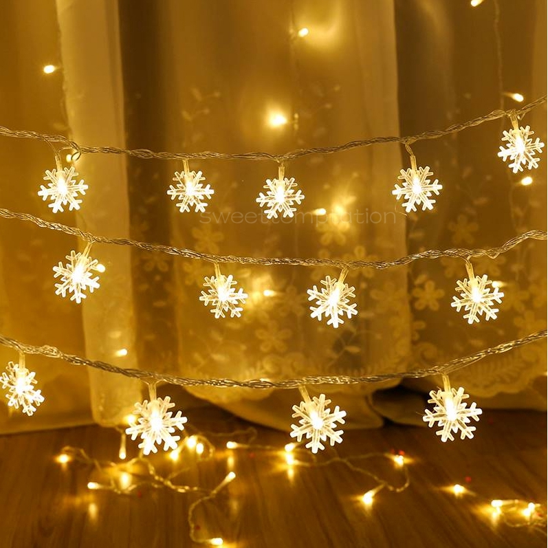 LED Snowflake Lights Christmas Curtain Five-pointed Star Lights Bedroom  Lights