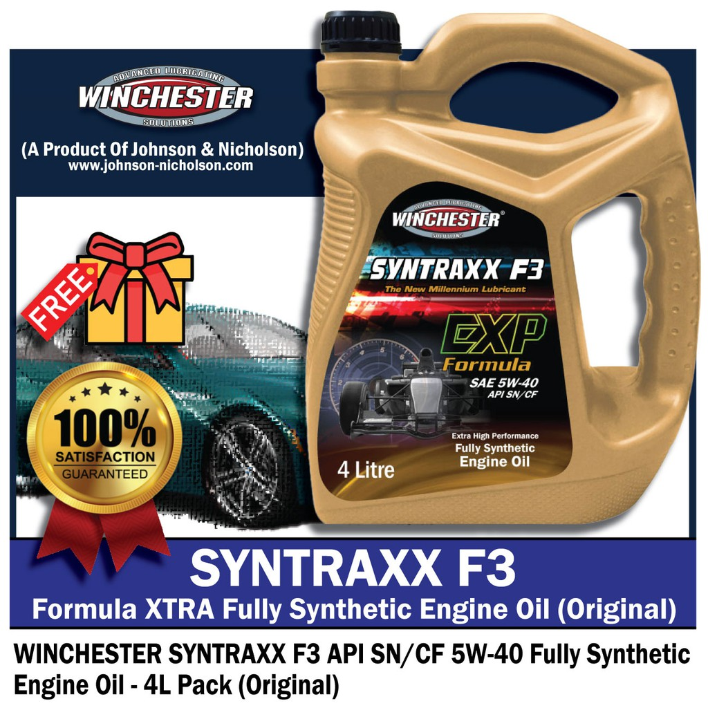 Winchester Syntraxx F3 5w40 4L Fully Synthetic SN Engine Oil Car Lubricant