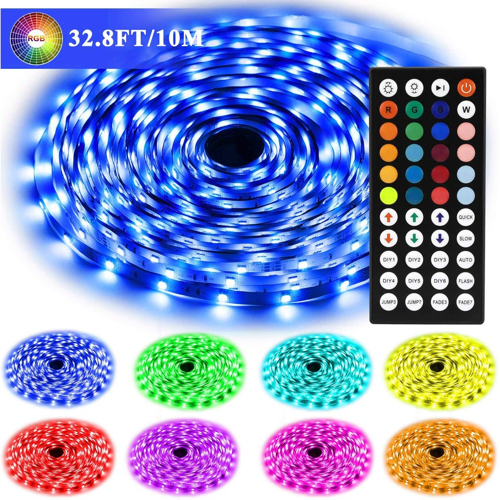 Led Strip Lights For Bedroom 32 8 Ft 10m Long 5050 Rgb 300leds Color Changing With Remote 12v Power Supply Dimmable Flexible Led Tape Lights Lighting For Room Ceiling Christmas Under Cabinet Shopee Malaysia