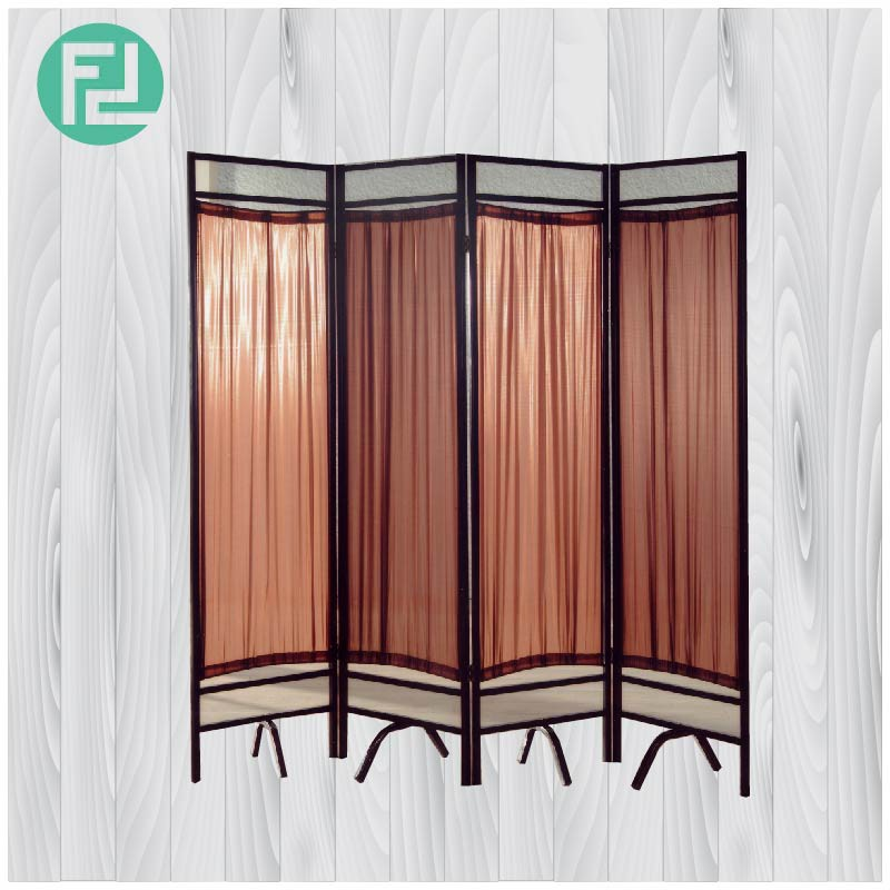 Furniture Direct ZIG-B1 FABRIC WITH METAL FRAME SCREEN DIVIDER-BROWN
