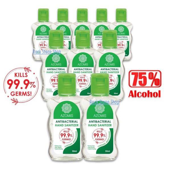 [10 Bottles x 50ml] Instant Hand Sanitizer Sanitiser (Kills 99% Germs, AntiBacterial)消毒杀菌洗手液 Azomis KKM