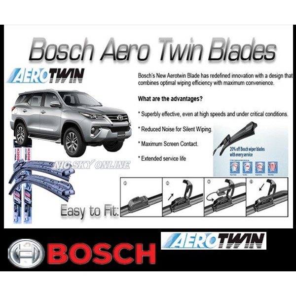 WIPER ORIGINAL BOSCH Aerotwin OEM Fortuner SET 2PCS