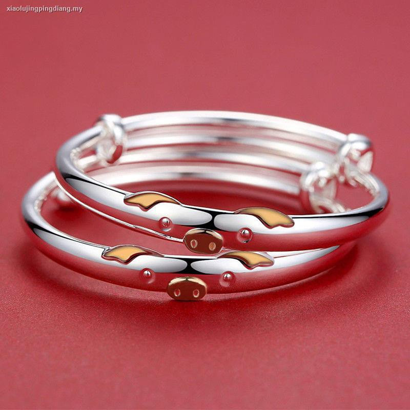 2X Small Bell Silver Plated Kid Child Baby Childrens Jewelry bangle Bracelet   S
