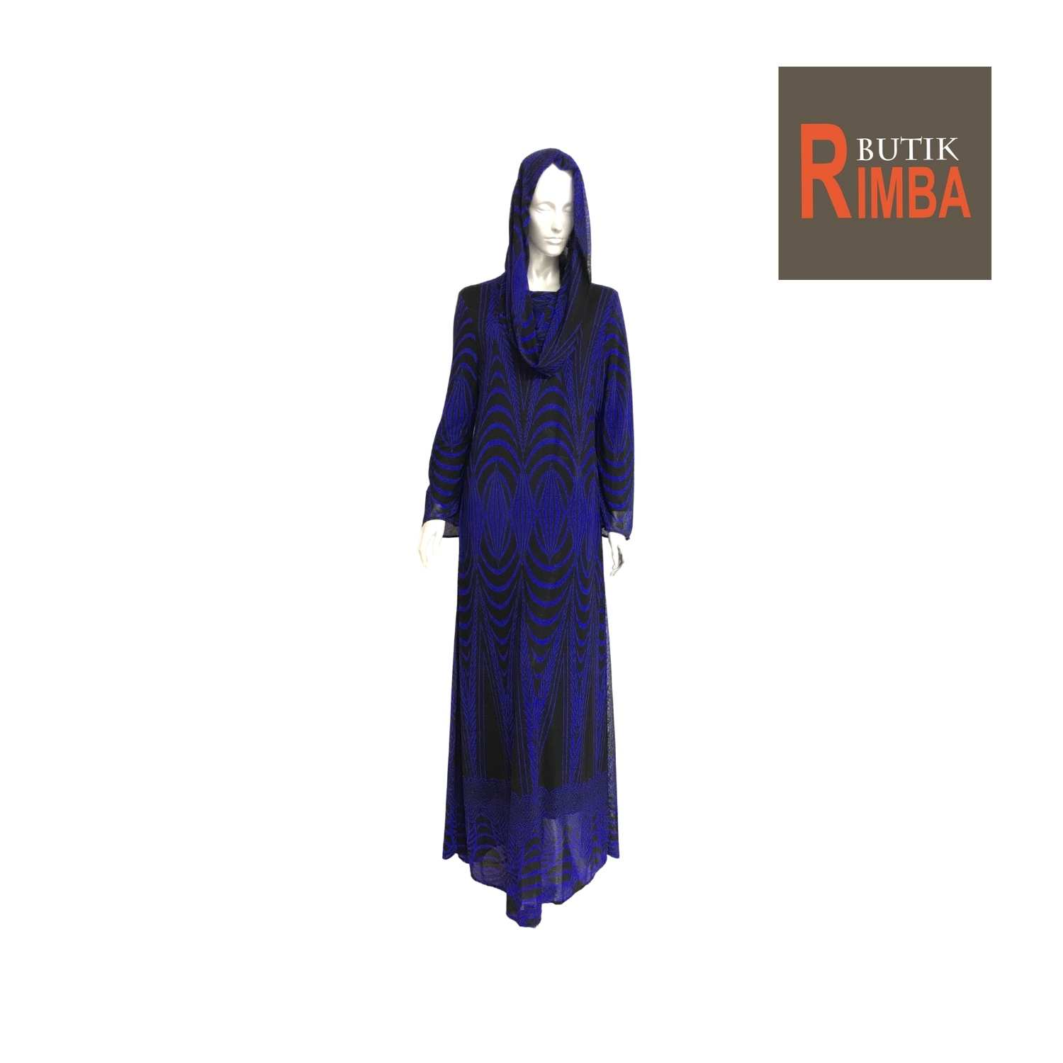 JUBAH DRESS HOODIE LONG SLEEVE NET STRETCHABLE,COOLING AND ELEGANT FOR FASHIONABLE WOMEN 03