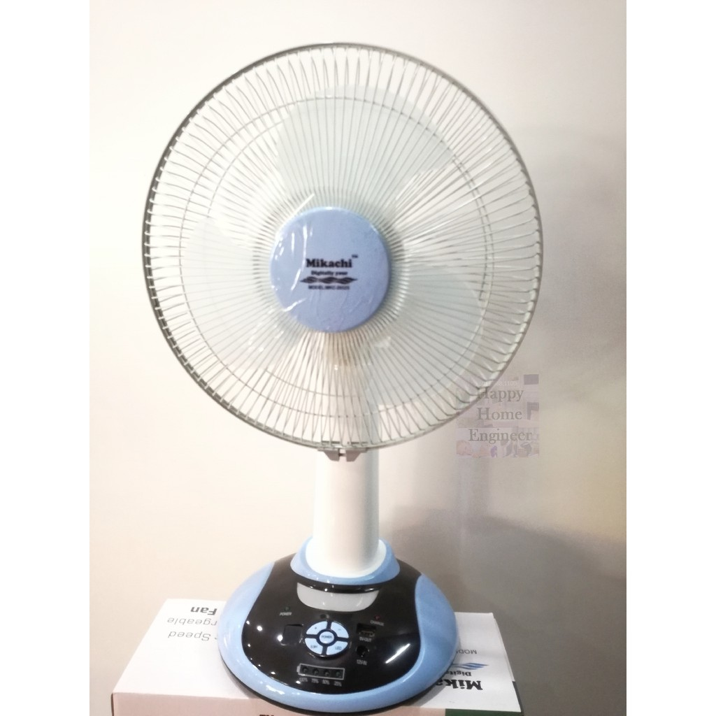 """Rechargeble 12"""" Table Fan with 9 Speed/Battery Indicator/Night Lamp/USB charger"""