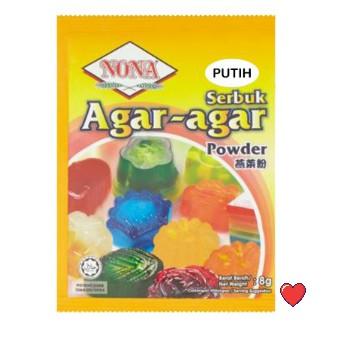 Nona Serbuk Agar-Agar / AGAR-AGAR Powder ~ White Colour 8g ( Free Fragile + Bubblewrap Packing )