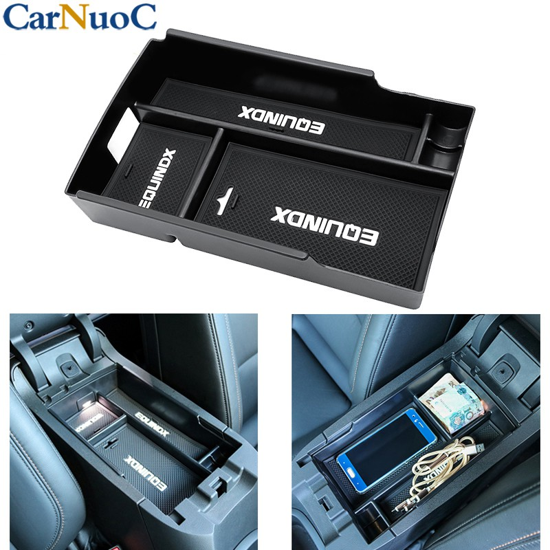 Interior Armrest Storage Box Organizer Holder Mat For Chevrolet Equinox 2018+