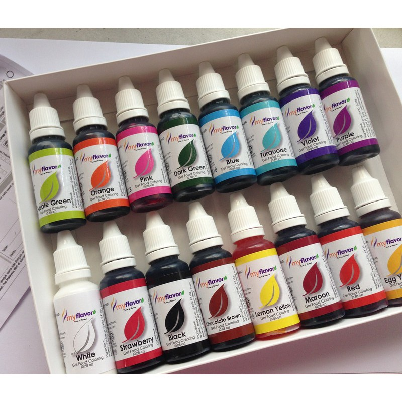 Gel based food colouring set of 16colours
