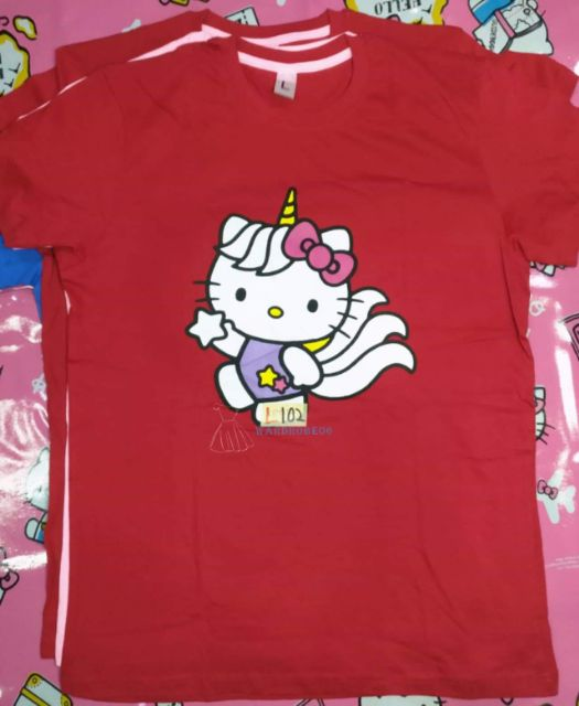 💥💯 💯 👕 COTTON UNISEX TShirt {KITTY} ~RED L/pink S