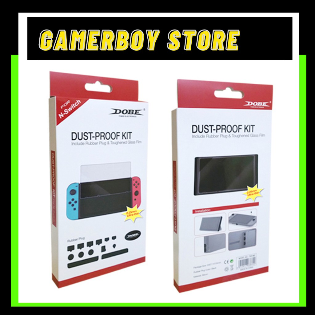DOBE NINTENDO SWITCH DUST PROOF KIT - INCLUDES RUBBER PLUG AND TEMPERED GLASS [TNS-862]