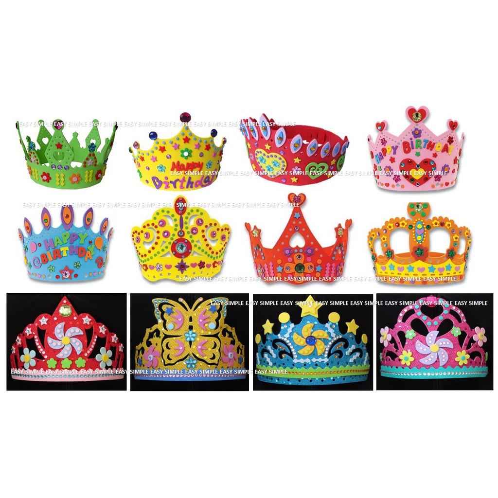 Nice 3d Eva Handmade Birthday Crown Adjustable Diy Hat Princess Crown Craft Children Gifts Puzzle Toys Birthday Party Decoration Tool Boxes