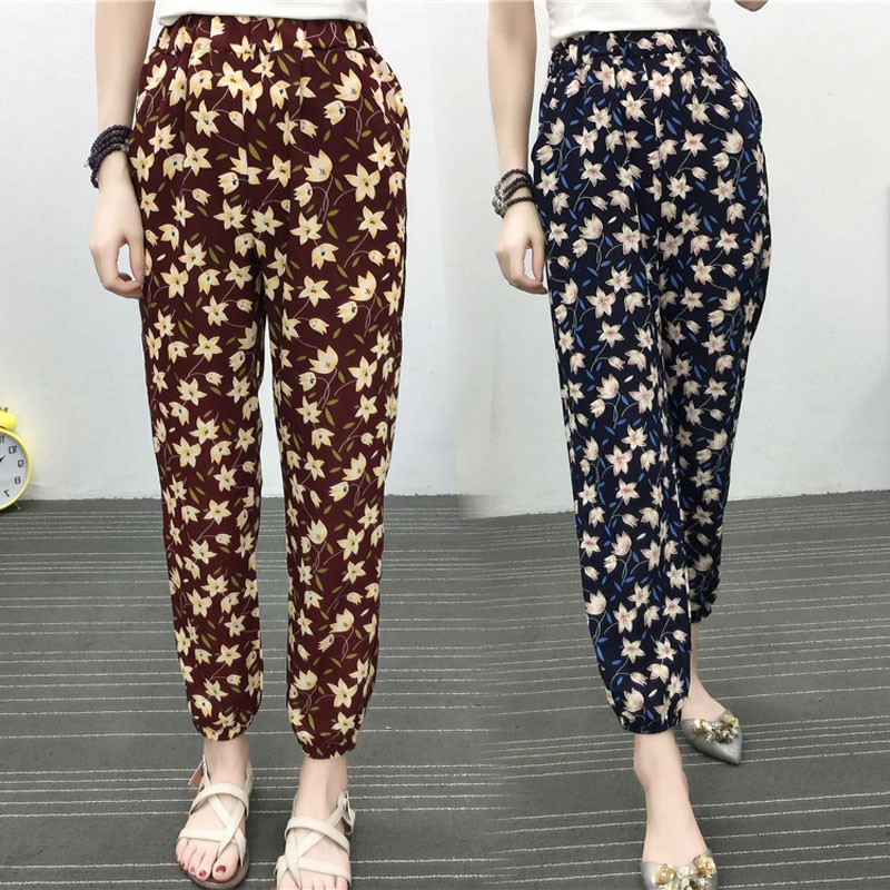 7e6ec87710 Spot seaside resort floral thin print chiffon nine small leg pants women |  Shopee Malaysia