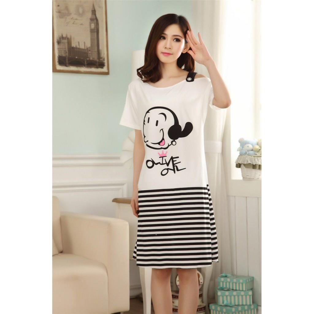 Ready Stock Women Milk Silk One Piece Sleepwear Dress With Printed Simple Strip Design Free Size Fit Up To Size M Shopee Malaysia