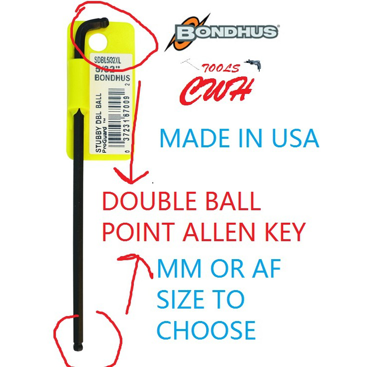 MM INCHES BONDHUS USA BLACK DOUBLE BALL POINT END ALLEN HEX KEY HEXAGON DRIVER CWH TOOLS BLACK HARDWARE BLACKHOME