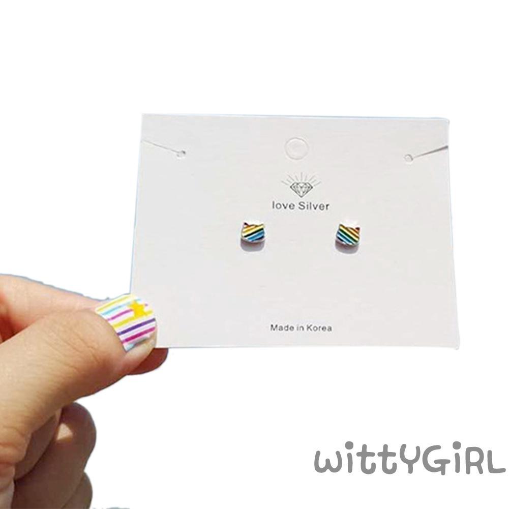 Women Crystal Cat Oil Drop Enamel Pendant Charm Fashion Mini Cute Crafts Gift