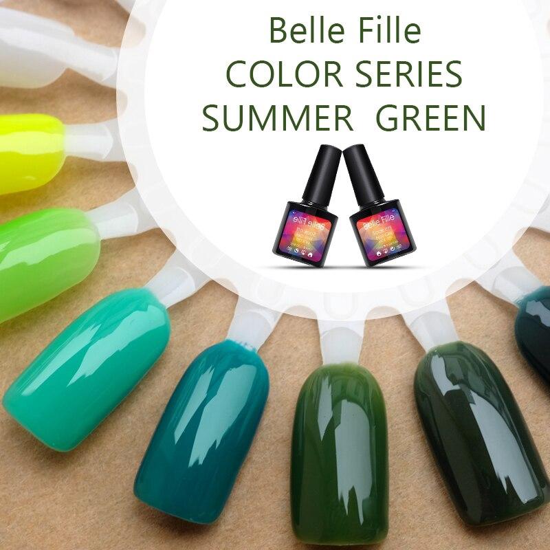 Belle Fille Uv Gel Nail Polish Summer Green Series Uv Gels Grass Green Olive Gel Nail Polish