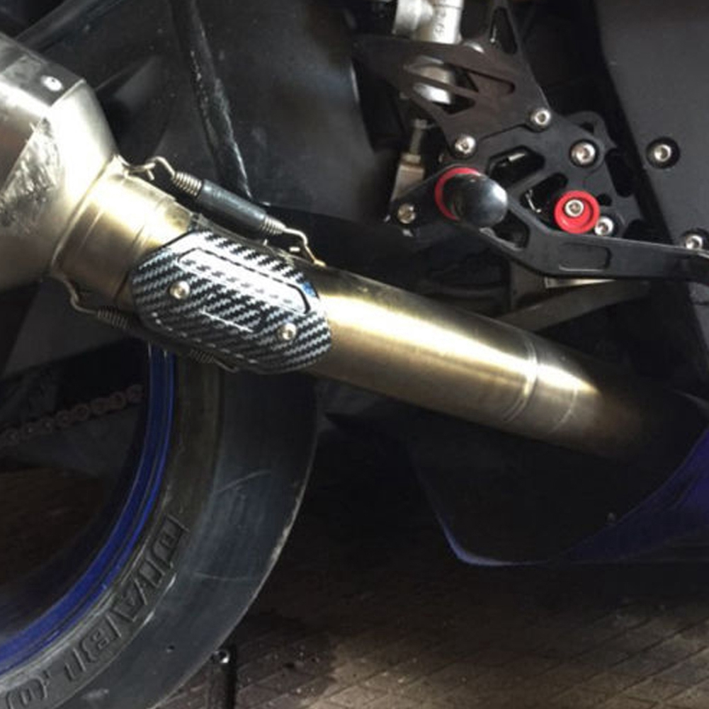 Black Motorcycle Exhaust Pipe Heat Shield Link Tube Protector Cover Akrapovic