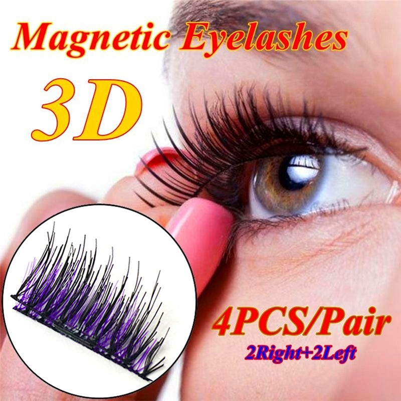646950dfb6c 3D Magnetic False Eyelashes Natural Eye Lashes Extension Handmade 4 Pcs/2  Pairs | Shopee Malaysia