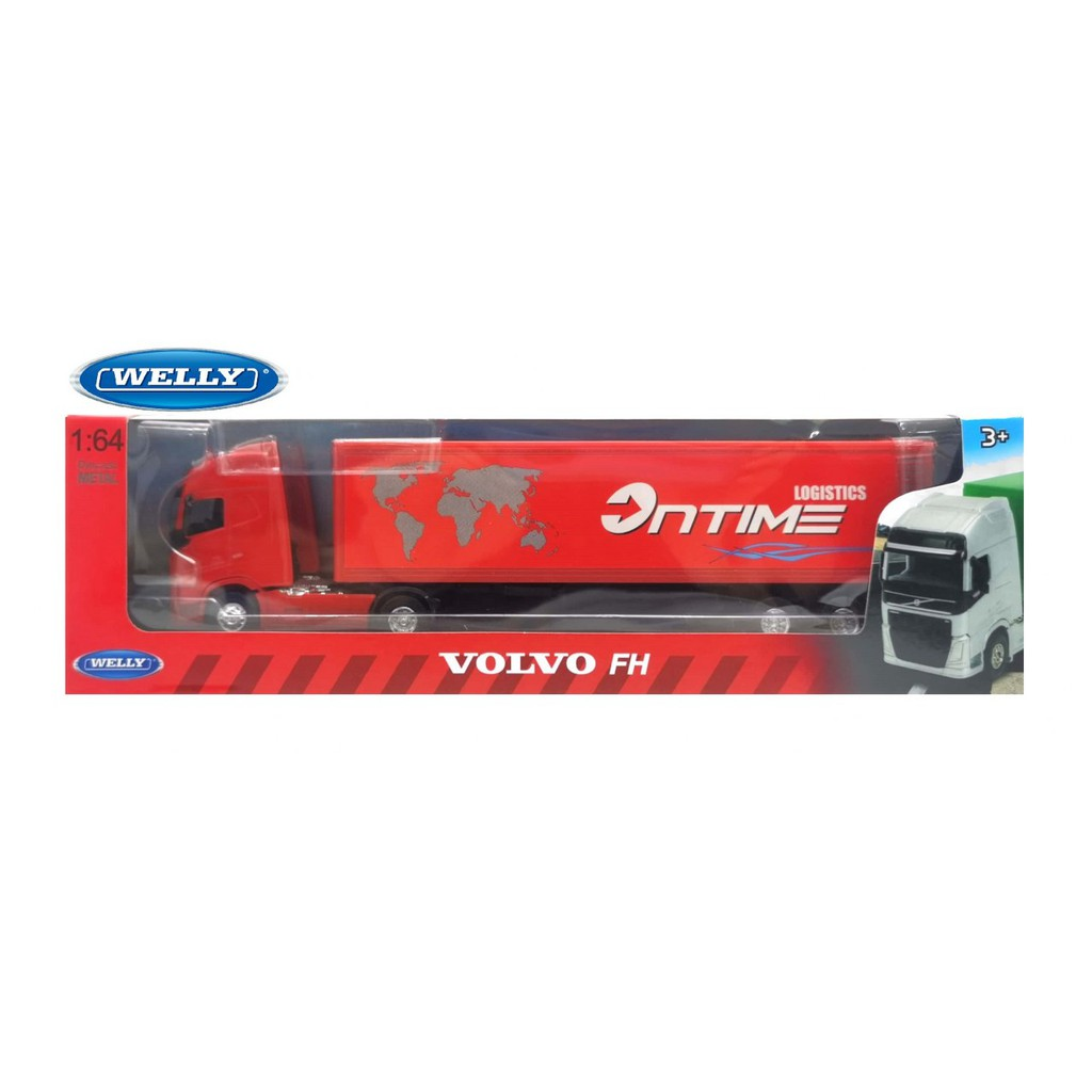 WELLY 1:64 TRANSPORTER METAL DIE CAST VOLVO FH TRACTOR TRAILER TRUCK (RED) MODEL COLLECTION 68051GW