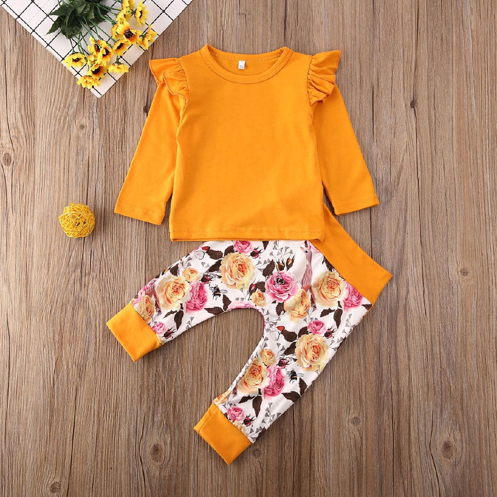 Rabbit Print Floral Suspender Skirt Sets Dress Clothes Toddler Baby Girls Easter Outfit Ruffle Sleeves Top Short-Pink, 18-24 Month