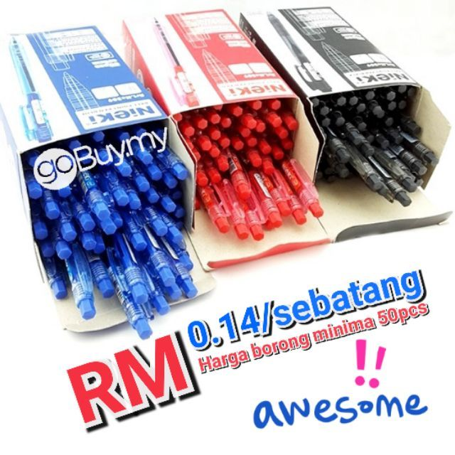 Borong RM0.14 Sebatang Ball Pen 0.7mm Black Blue Red 50pcs