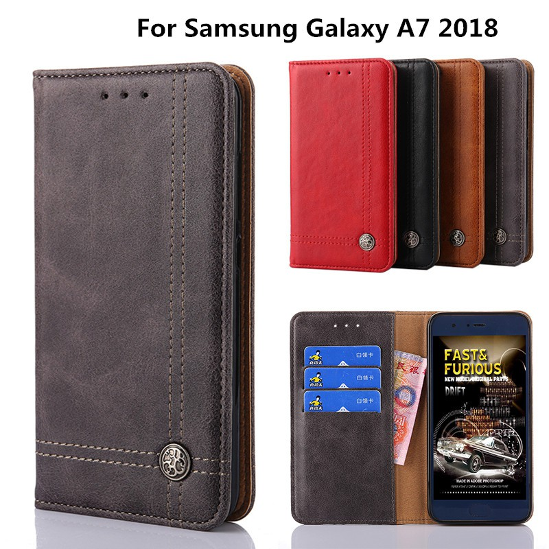 new products 74de6 2a90d Flip Samsung A7 2018 Case Cover Wallet Leather Samsung A730 Phone Bag Case