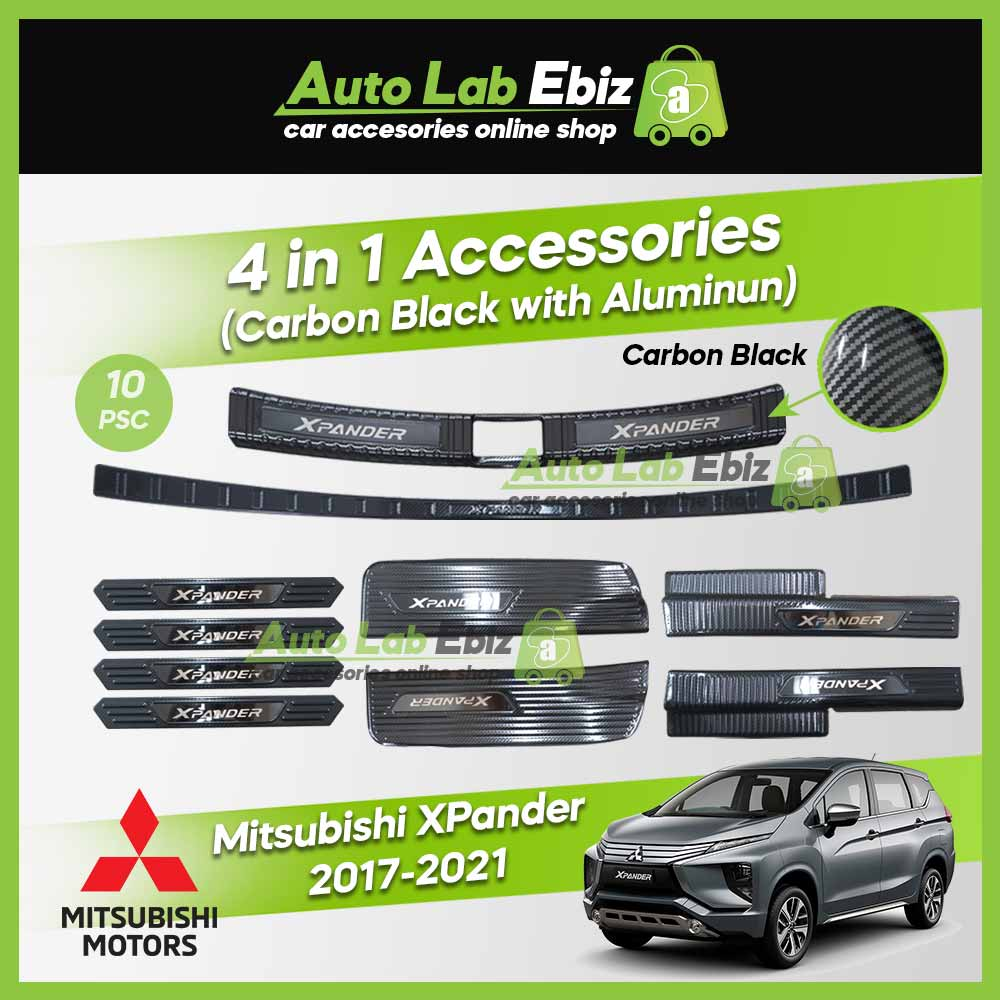 Mitsubishi Xpander 2017-2021 Inner Outer Rear Bumper Guard/Side Sill Plate Aluminum 4 in 1 (Carbon Black) (10pcs/set)
