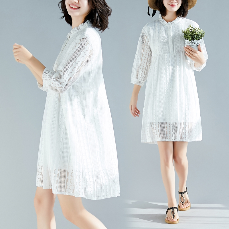 Korean Fashion Women White Lace Dress 34 Sleeve Length Big Size Loose Fit