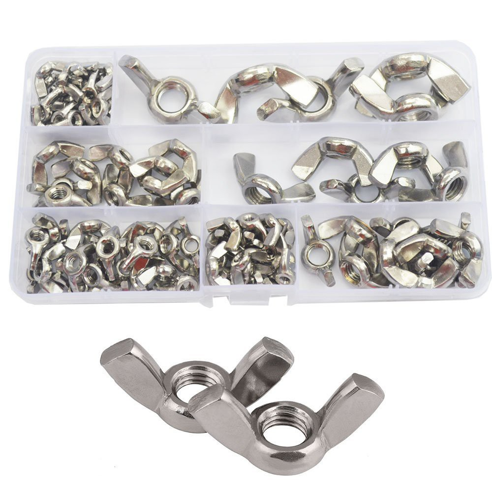 30Pcs M8 304 Stainless Steel Serrated Metric Wing Nuts Butterfly Nuts Hex Dome Cap