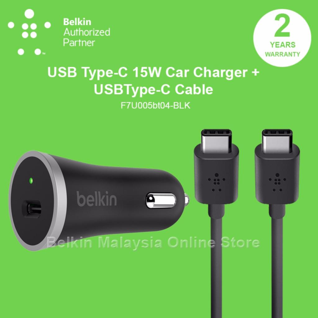 Black F7U005bt04-BLK Belkin USB-C Car Charger with 4 USB-C Cable 3 Amp//15 Watt