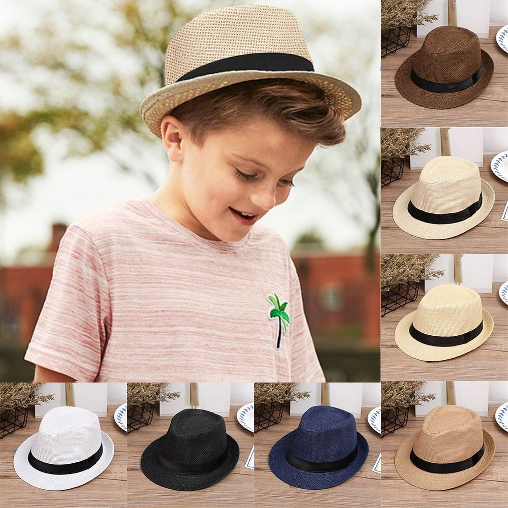 Kids Baby Boys Children Straw Gentleman Panama Jazz Hat Retro Cowboy Cap
