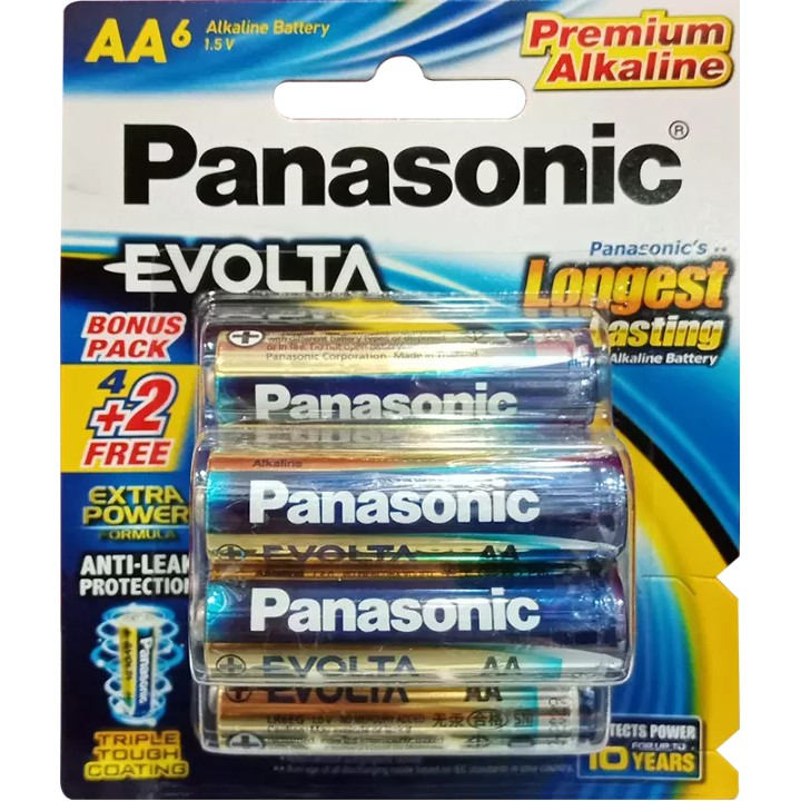 Panasonic Evolta AA 1.5V Premium Alkaline Battery 6pcs - NO Mercury Added. COD Available
