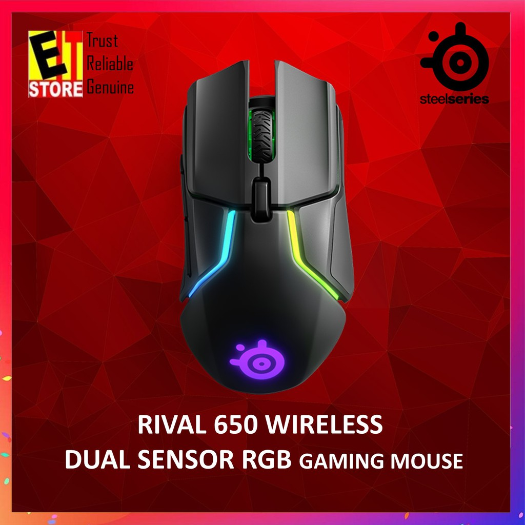 STEELSERIES RIVAL 650 DUAL SENSOR RGB WIRELESS GAMING MOUSE 62456